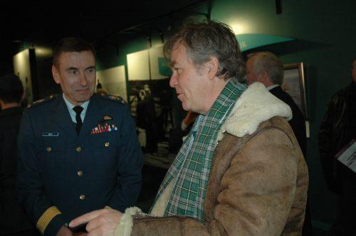 Canada's Chief of the Air Staff, LGen Angus Watt, chatting in the msueum with Canadian astronaut/Silver Dart test pilot Bjarni Tryggvason.