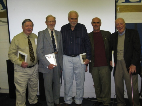 "These CAHS ""old timers"" were honoured at the May 9 meeting with Toronto Chapter Centennial of Flight awards: George Topple, Sheldon Benner, Bill Wheeler, Larry Milberry and Fred Hotson. (Ken Swartz)"