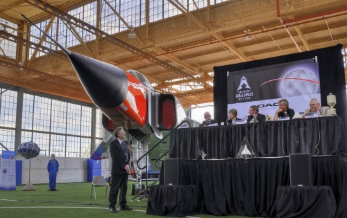 The set-up at the Apollo 11 celebration at the CASM. The museum's full-scale CF-105 Arrow mock-up looms majestically to the side. (Andrew Yee)