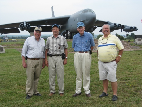 Day's end included a visit to B-52G 58-0225, a reminder at Griffiss of Cold War days gone by: Bob, Jay, Dave and Jim. (Larry Milberry)