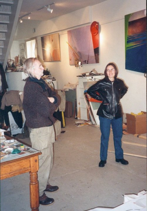Artist Tom Bjarnason give Kate Milberry a tour of his Port Hope studio in 1998.