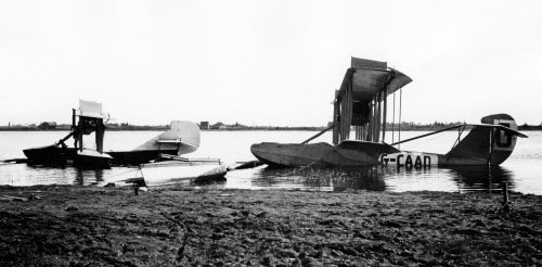 HS-2L G-CAAD at rest at Lac-a-la-Torue, Quebec along with a spiffy-looking Curtiss Seagull. G-CAAD ended its day in a crash at Tadoussac, Quebec on August 4, 1922. (LAC PA89145)