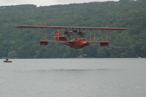 The spectacular Curtiss America replica in flight at last year's Seaplane Homecoming at Hammondsport, New York. The Curtiss Museum plans to fly the America again this year. The event is on September 18-20. Get all the details at the museum web site: glennhcurtissmuseum.org. See you there! (Larry Milberry)