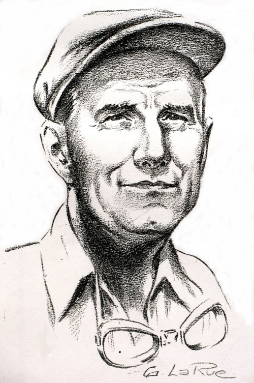 "Reginald Hunt as illustrated by G. LaRue. Hunt's name is nowhere to be found in the list of the original 598 ""Early Birds"" of aviation (earlyaviators.com). Naturally, the list includes the names of Baldwin, McCurdy and all other bone fide Canadian aviation pioneers. (via City of Edmonton Archives)"