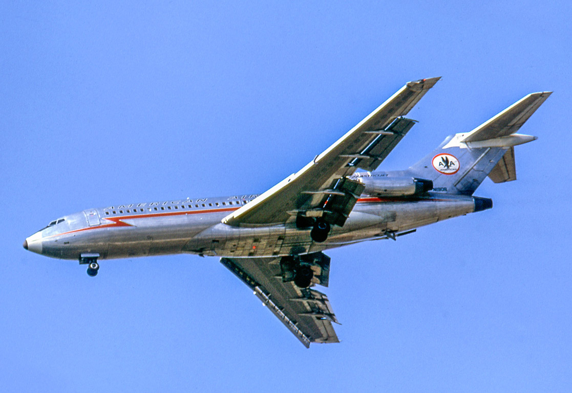 "American Airlines 727-23 ""Astrojet"" N1908 approaches Chicago O'Hare on August 28, 1966. I was there that day with pal Nick Wolochatiuk on one of our periodic Great Lakes trips in Nick's VW. Delivered the previous May, N1908 served AA into 1992, when went into storage at Maxton, North Carolina. The following year it was sold to cargo specialist Emery Worldwide Airlines for parts and scrapping."