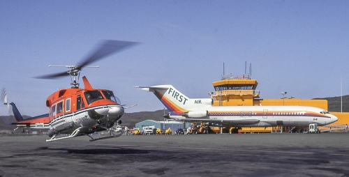 "Last to operate the 727 on scheduled routes in Canada was Ottawa-based First Air. Here are two views of First Air's ""combi"" C-FRST at YFB Iqaluit on August 12 and 15, 1992. A 727-90C, ""RST"" originally had been delivered to Alaska Airlines in 1966, from where First Air acquired it in 1985. ""RST"" left service in Y2K. Several all-cargo 727s still operate in Canada with Cargo Jet Airways and Kelowna Flightcraft."