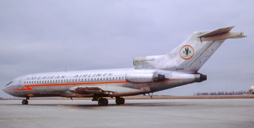 Having joined AA in February 1965, 727-23 N1988 served to 1993. Here it is at Buffalo, NY on a blustery March 20, 1965. Buffalo was one of the best spots for aircraft photography. Almost never were we rousted from the tarmac, beside a taxiway, from a hangar, etc. A friendly place for sure! N1988 later served on various leases. It was sold in 1998 to Million Air Charter of Johannesburg, where it was seen derelict in recent years. Some 727s accumulated more than 50,000 flying hours.