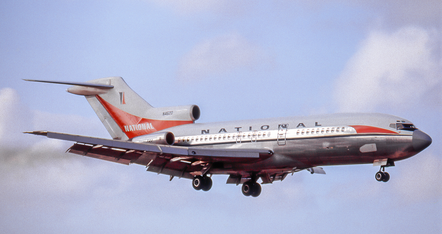 "Boeing 727-35 N4620 of National Airlines smokes in for a landing at Miami on December 28, 1966. When National folded in 1980, N4620 (named ""Lynn"") moved to Pan American as ""Clipper Sportsman"". In 1984 it went to a US company called Gulf Air Transport, then migrated to AVENSA of Venezuela. Last being heard of there in Y2K."