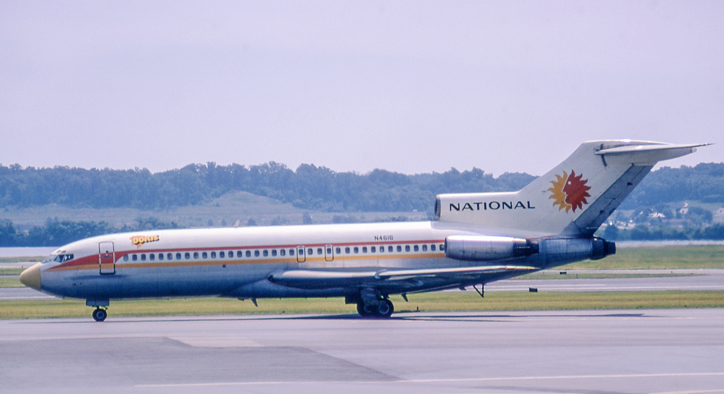 "727-35 N4616 ""Doris"" in a subsequent paint scheme adopted by National. It later served Pan Am, then others until purchased by Boeing in 1985 to be converted into a USAF C-2. As such it served into the early 2000s, then was sold to a new owner in El Paso. ""Doris"" is seen at Washington National on May 2, 1972."
