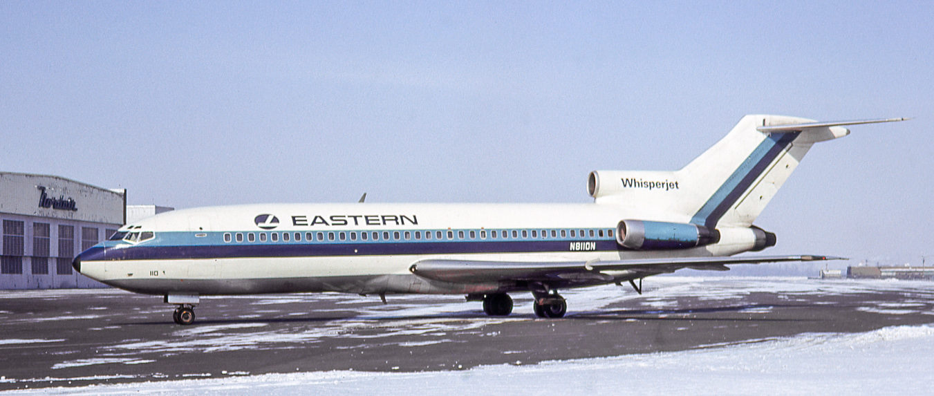 N8110N of Eastern Airlines taxis from the terminal at Dorval on February 19, 1966. By now all the buildings in the background have been demolished. EAL was the first 727 operator, N8110N being its 10th example. It served into 1981, then went for scrap.