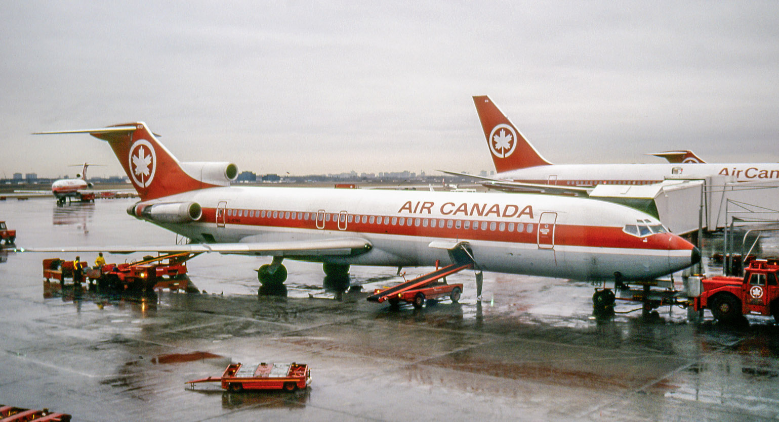 "From 1974 the 727 was the backbone on Air Canada's medium-haul routes. Shown is C-GYNG, which served 1981-87 including a stint with affiliate Air Jamaica. ""YNG"" was sold to FedEx in 1991. There it operated as N280FE into 2011, when it was banished to the airplane bone yard at Victorville, the former George AFB near San Bernardino."