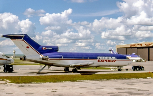 727-22 (F) C-GBWY began with United Air Lines in 1966, where it served 25 years. It joined FexEx in 1990 and the following year came to Canada for FexEx contractor Brooker Wheaton, then Max Ward's Morningstar Air Express. In 2004 it returned in the US as N192FE, retired from FedEx in 2007 and presently is a ground-based training aid at Denver. The FedEx website in February 2013 noted that 79 727 remained in the fleet, but these fast were being replaced by more fuel-efficient 757s. C-GBWY seen at Calgary on July 4, 1993.