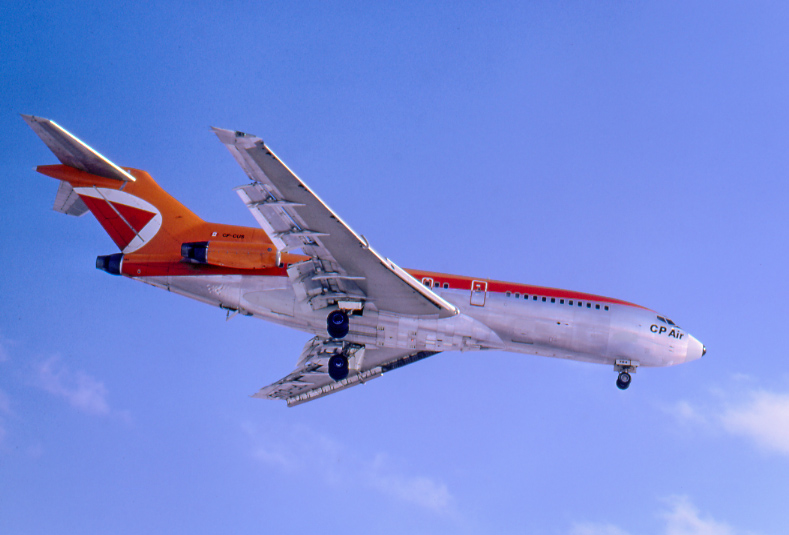 "During its gaudy orange era, CPA operated four 131-seat 727-117s (1971-77) and two 189-seat -217s (1975-80). ""CUS"" later served in Mexico and Ecuador before being cut up for scrap in Miami in 1998. It's seen on approach at Toronto on March 6, 1972."