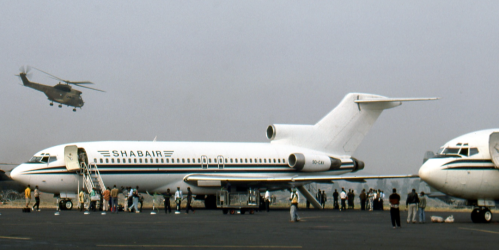 9Q-CAV at Goma, DRC in August 8, 1994, where pandemonium reigned and everyone seemed to be carrying a weapon. Having begun in 1966 as N8143N with Eastern Airlines, this 727-25 later flew for Trump Shuttle, before going to the DRC in 1991. 9Q-CAV is thought to have been put out to pasture in 2007.