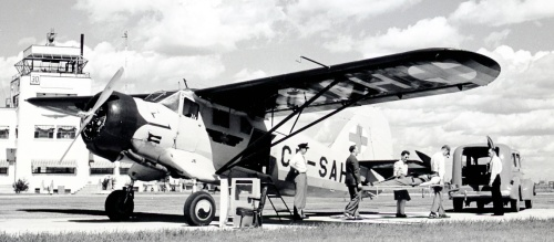 "Saskatchewan air ambulance Norseman CF-SAH at work in early postwar days -- it's the same historic plane shown above as RCAF ""679""."