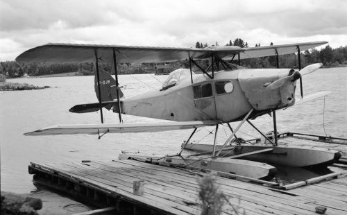 "Among the shots I took while visiting Kenora in 1961 was this one on the waterfront of prospector Jack Edwards' Fox Moth. Max Ward later acquired ""DJB"" for restoration"
