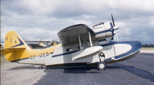 Up at the airport, which I reached with much difficulty in 1961, I shot several planes, including OCA Goose CF-GEB. It took me so long to catch a ride this evening, that I spent the night in an airport shack.