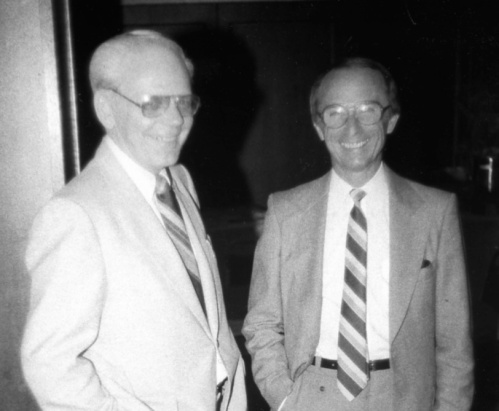 Des McGill (left) served TCA/Air Canada mainly as a technical illustrator. The first edition of the North Star book came with a huge fold-out in a pocket at the back of the book. This showed the North Star in detailed 5-view line drawings, done to perfection by Des. When McGraw-Hill Ryerson with permission from CANAV reprinted this book years later, they were too cheap to include Des' drawings. So … lucky is the bibliophile who has his first edition. On the right is Joe Matiasek, my sales rep at The Bryant Press, printer/binder of the first few CANAV titles. Bryant was a typical case of the tradition-bound book manufacturer unable 30 years ago to adapt, as computerization started to change printing at the speed of heat. After almost 100 years turning out top-grade Canadian books, Bryant folded over night in the early 1990s.