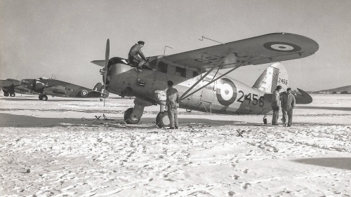 Another fine winter scene, this one of 2456 at Rockcliffe on December 23, 1940. Beyond are a couple of RCAF Hudsons. (RCAF)