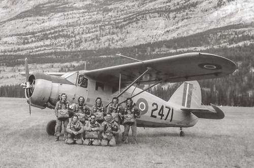 Norseman Vol.1 tells a bit about the RCAF's early search and para-rescue activities. On p.197 there's a fuzzy photo of 2471 with a class of early para-rescue jumpers on course at Jasper, Alberta. Suddenly, via the Geoff Rowe Collection, we now have this far better version of this photo. Janet Lacroix at the DND in Ottawa looked this neg up for me to determine that the picture dates to June 16, 1947. There's also a great photo on p.55 showing 2471 just about to come off the somewhat primitive Norseman production line at Cartierville. (RCAF PL38459)