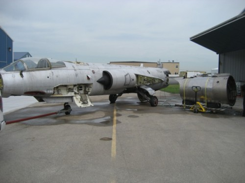CF-104 12703 on arrival in 2013 at the CSM hangar at St. Andrews Airport, a short drive north of Winnipeg.