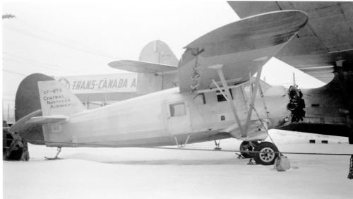 This view CF-BTC is a real work-a-day snapshot. Ex-RCAF 2456, 'BTC is well covered in Norseman Vol.2. Here it sits forlornly out in the cold at Winnipeg's Stevenson Field during its Central Northern Airways era. 'BTC served CNA/Transair 1948 – 58, then flew with Pete Lazarenko's Northland Fish Co., Willy Laserich and others until 1998, when it joined the Western Canada Aviation Museum in Winnipeg.