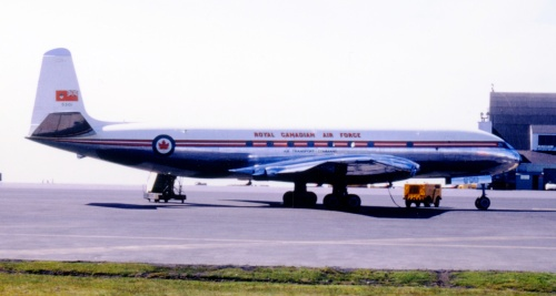 An ancient scene at Keflavik, showing RCAF Comet I 5301 on the tarmac. Such early jet transports did not travel far before having to refuel somewhere. Depending on winds, if westbound from Prestwick or Shannon, an RCAF Comet almost certainly would have to stop at Keflavik, maybe also at Frobisher Bay or Goose Bay, before reaching home base in Ottawa. The RCAF was the world's first air carrier with scheduled trans-Atlantic jetliner service. The story of its Comets is covered in such CANAV titles as Air Transport in Canada and Sixty Years.