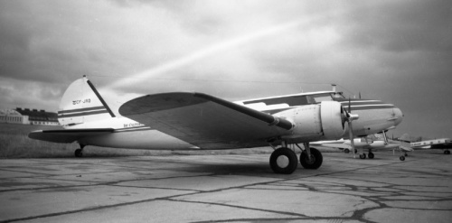 This Boeing 247 served the Alberta oil industry for decades, until finallydonated to Canada's national aeronautical collection in Ottawa. Based in Calgary with California Standard Oil (later with Chevron Oil), Leslie often saw it in Edmonton. Alberta oil companies also operated the Lockheed 12, Lockheed 18 and DC-3 in the 1950s.