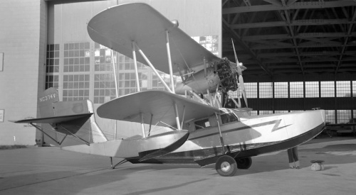 "This unique, aluminum-hulled Keystone-Loening K-84 ""Commuter"" turned up one day in Edmonton. A luxurious amphibian using a 300-hp Wright engine, the Commuter (first flight 1929) was popular with sport aviators and corporations. NC374V today resides with the Alaska Aviation Heritage Museum in Anchorage."