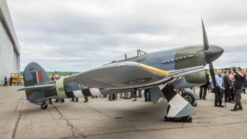 Spectacular Typhoon MN235 dressed in 440 Squadron markings for the CASM's 2014 D-Day remembrance event. (Larry Milberry)