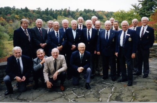 Pilots from the Typhoon and Tempest association at one of their annual get lunch gatherings. This one was held on October 14, 1992 at the Mississauga Golf and Country Club. Standing are Jack Cook (439 Sqn), Ed Flanagan (440), Jim Ruse (439), Jim Beatty (439), Ed McKay (438), Staff Marlatt (247, 439), George Lane (198), Jack Brown (193), John Flintoff (440), Harry Hare (175), Al McMane (182, 274), Murray Hallford (439), John Friedlander (181), Norm Howe (175), Clayton Leigh (182) and Bill Baggs (164). In front are Bill Clifford (439), Frank Johnson (174), Norm Dawber (438) and Rod Davidge (193). (Larry Milberry)