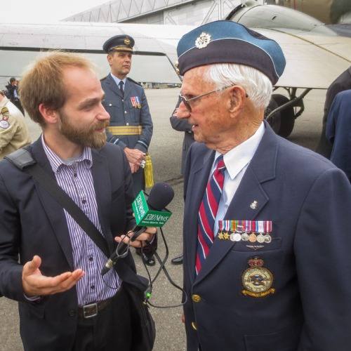 John Thompson is interviewed by one of the media types covering this grand D-Day/Typhoon event.