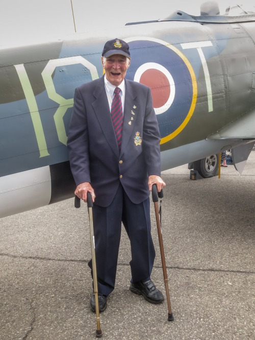 Ted Smith was excited to see the CASM Typhoon in the markings of his beloved 440 Squadron. Ted arrived this day from his residence at Sunnybrook veterans hospital in Toronto.