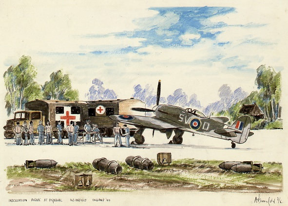 Typhoon and tempest reminiscences canav books blog fl george broomfields chalk rendering entitled inoculation parade at dispersal 143 airfield altavistaventures Choice Image