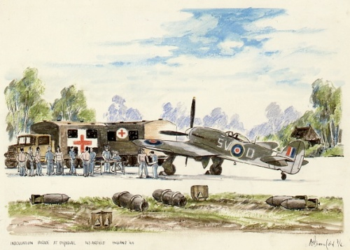 "F/L George Broomfield's chalk rendering entitled ""Inoculation Parade at Dispersal, 143 Airfield England '44"". This piece (the front endpaper of Typhoon and Tempest: The Canadian Story), features 439 Typhoon ""5V-D"". (Canadian War Museum)"