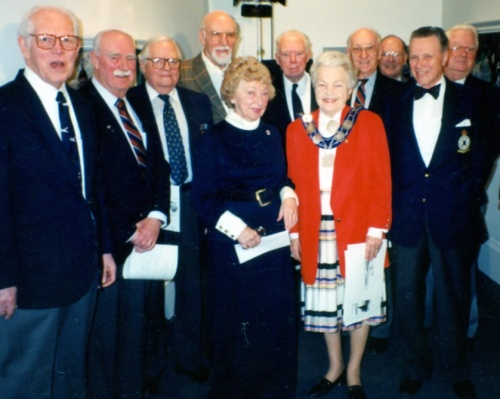 Bambi Broomfield and Mayor Hazel McCallion surrounded by Typhoon men Bill Baggs, John McCullough, Norm Howe, George Lane, Jack Brown, Norm Dawber, Dave Davies, John Friedlander and Ed McKay.