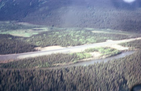 The rugged airstrip at Mosquito Creek into which DKU operated from Smithers. (via Duke Dawe)