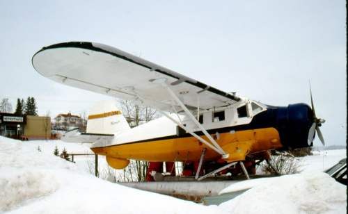 CF-JIN in a typical over-wintering scene at Red Lake. This is how the planes dedicated to summer tourism spend their off-season. (Larry Milberry)