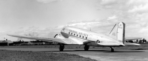 "Canadair sold a number of DC-3s to Colonial. Here is NC86591, which served the US Army during the war, including in the ""Market Garden"" disaster over Holland in September 1944, where dozens of C-47s were shot down. Many of Canadair's C-47s had seen combat. The old timers used to tell me how some arrived at Cartierville bearing the scars of battle. NC86591 well might have been one of these ""Gooney Birds"" with bullet holes and patches. Canadair handed it over to Colonial in May 1946, but it soon was sold on to Aerolineas Argentinas, becoming LV-AGE. On June 3, 1951 it crashed at Puerto Deseado, happily without casualties."