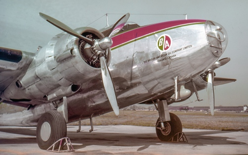 "Canadair also did such non-DC-3 conversions as an Anson Mk.5 for Goodyear Tire and Rubber of Toronto (this Anson soon was replaced by CF-TDJ). In another case, in April 1948 BA Oil of Toronto purchased ex-TCA Lockheed 18 Lodestar CF-TDE, which went to Canadair for executive conversion. Re-registered CF-BAO, here it is ready for delivery. ""BAO"" served BA Oil from Toronto's Malton Airport into 1960. It next was sold in the US, then to a Peruvian company for aerial survey duties."