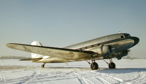 "Ready for delivery, gleaming DC-3 CF-GJZ taxies in the snow at Cartierville in 1948. ""GJZ"" had begun off the Douglas production line in 1943 as USAAC C-47 42-92400. In 1944 it went to the RAF as Dakota FZ639, did its wartime service, then was acquired dirt cheap by Canadair at war's end. Fully rejuvenated, it was sold to the Algoma Steel Company of Sault Ste. Marie, Ontario. Christened ""Victoria"", it operated into 1964, when it was replaced by Gulfstream CF-ASC. From then into 1977, it flew as N510Z and N766VM (mostly based in Florida). Finally, it migrated to Guatemala with military tail number ""510"". In 2015 it reportedly was a museum piece somewhere in Guatemala."