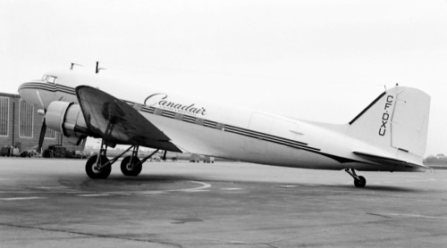 "Canadair's own DC-3 CF-DXU at Malton on May 19, 1960. Originally 42-93060 delivered to the USAAF in early 1944, it soon was transferred to the RCAF as KG526 for domestic use. It was converted for TCA as CF-TED in 1945, but a few months later returned to Canadair. As ""DXU"" it served the company into 1968, by which time the company had a Convair 240 and a Mallard. ""DXU"" then worked for many Canadian operators (mainly in the north) into the early 1980s, when it went for pots and pans."