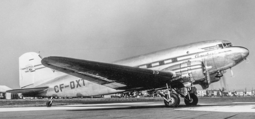 "Before there was ""DXU"" there very briefly was ""DXT"". Formerly RAF KP216, it was dormant at Dorval when the war ended. Benjamin Franklin quickly latched on to it, getting it serviceable in 1946 and looking fine in glitzy Canadair markings. Then an Argentine buyer cropped up to whom ""DXT"" was just as quickly sold. As LV-ADG it seems to have endured in Argentina into the early 1970s."