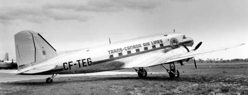 "TCA received more than 20 Canadair DC-3 rebuilds. Here CF-TEG sits in its polished glory at Cartierville, ready for customer acceptance. ""TEG"" served TCA 1945-57, then Canada's Dept. of Transport as CF-GXW to 1985. In 1986 it flew around the world promoting Vancouver's Expo 86. Last heard of in the 2010s it was N173RD with Algonquin Airlines."