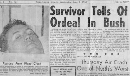 A clipping from the Kapuskasing Northern Times of June 2, 1965 reporting the tragic end of CF-MPL. (Ellis Culliton Collection)