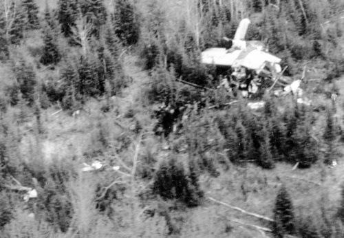 Ontario Provincial Air Service pilot Ellis Culliton photographed the accident site from his Beaver. It's clear that CF-MPL crash violently and that it was very good fortune that anyone survived.