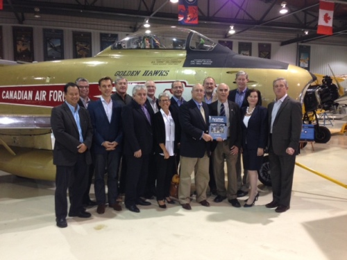 Peter's guests with the airworthy Vintage Wings F-86 Sabre, which Chris Hadfield has been flying since 2008.