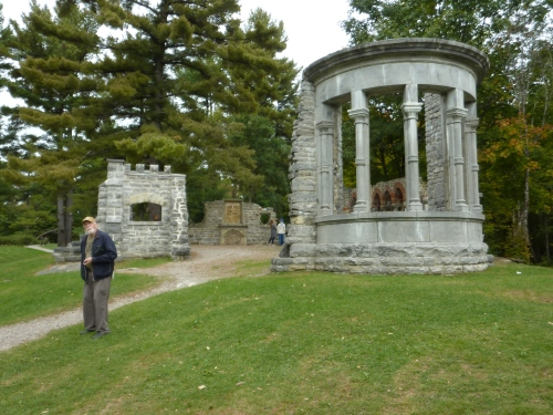 "Hugh ""among the ruins"", which King collected from demolition sites around Ottawa in the early 20th Century, then reconstituted in the Gatineau Hills."