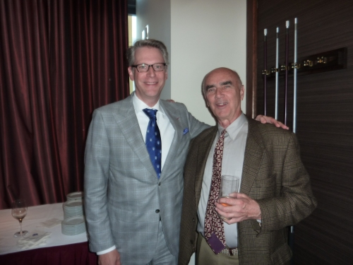 Publisher Milberry (right) with Trent Horne. Fred von Veh and Trent were the Bennett Jones lawyers who kept the publisher from self-destructing as the CAE project came down to the final stretch.