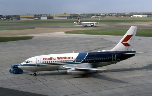 "Pacific Western Airlines was a major Canadian 737-200 operator, which also trained pilots in the EPA sim over the years. Here, C-GJPW waits at Edmonton ""Muni"" on May 17, 1987."